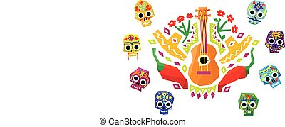 Colorful Mexican pattern, traditional ethnic elements vector Illustration
