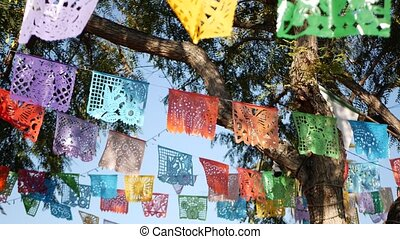 Colorful mexican perforated papel picado banner, festival ...
