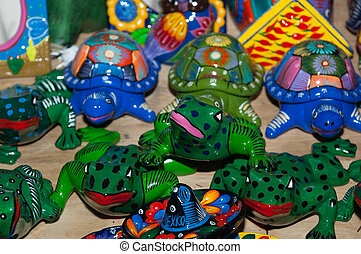 Colorful frogs and turle souvenir trinkets in Mexico