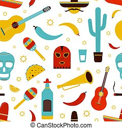 Colorful Mexico seamless pattern with traditional Mexican attributes on white background - tequila, chili pepper, sombrero, guitar, cactus, tacos, maracas, sugar skull. Cartoon vector illustration.