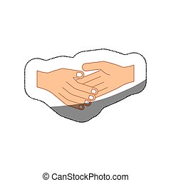 colorful middle shadow sticker with greeting of hand