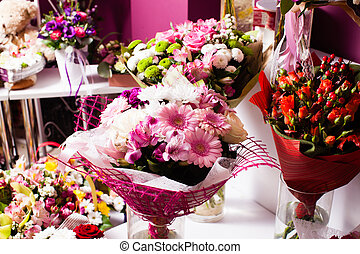 colorful mixed flower bouquets