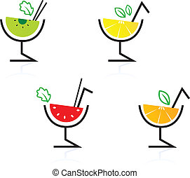 Colorful mixed fruit retro drinks / cocktail isolated on...