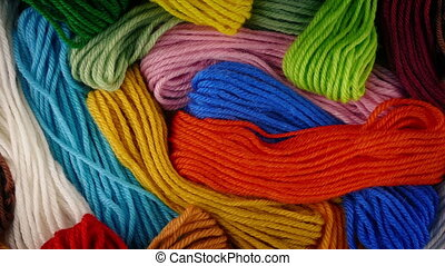 Colorful Mixed Yarn Rotating - Mixed bundles of thread in...