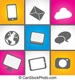 colorful mobile contact icon set