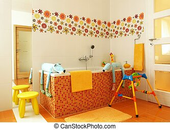 Colorful modern bathroom for children
