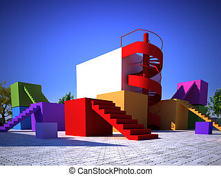 Colorful modern built structure - Multicolored modern built...