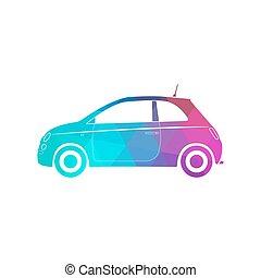 Colorful modern car silhouette