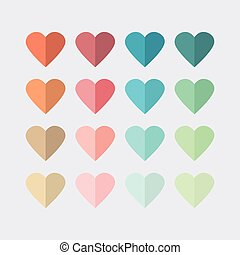 Colorful modern hearts icons set