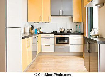 Colorful modern kitchen - horizontal - View into colorful...