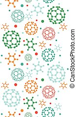 Colorful molecules vertical seamless pattern background