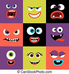 Colorful monster faces set