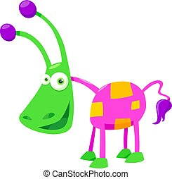 Cartoon Illustration of Colorful Fantasy Creature Funny Character