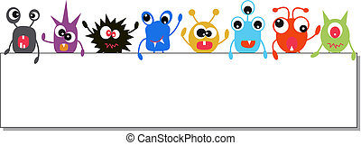 monsters holding a banner - colorful monsters holding a ...
