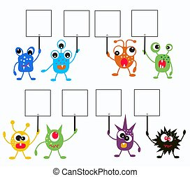 colorful monsters with placards