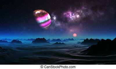 Colorful Moon over Alien Planet