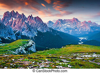 Colorful morning view of the Cadini di Misurina mountain range