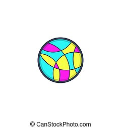 Colorful mosaic abstract creative logo in a circle