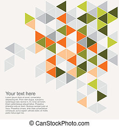 Colorful background vector illustration with empty space for text. Grey, orange, pink and green triangle geometric mosaic card document template. Hipster flat surface aztec chevron zigzag print design