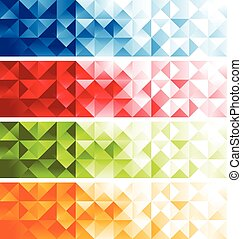 Colorful Mosaic Banners - Set of Colorful mosaic Banners