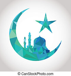 Colorful mosaic design - Mosque and Big Crescent moon, blue...