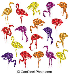 Colorful mosaic flamingo bird silhouettes illustration...