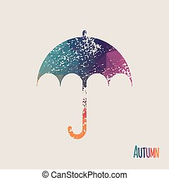 Colorful mosaic umbrella symbol on white background. Background with lettering and splatter effect. Label design