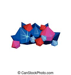 Colorful mountain crystal on white background. Vector illustration.