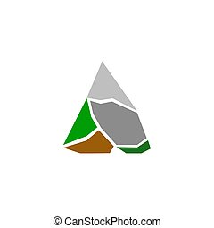 Colorful Mountain peak isolated on white