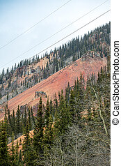 Colorful mountains near Silverton, Colorado - Red color of...