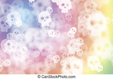 Colorful multi colored de-focused abstract photo blur, with skull