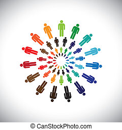 Colorful multi-ethnic people teams or communities meet as circles. This vector graphic can represent concept of teams interacting and collaborating with each other & also global social communities