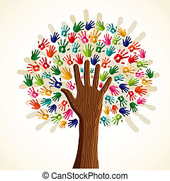 Colorful multi-ethnic tree - Colorful solidarity isolated...