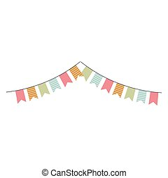colorful multicolored flags hanging icon design