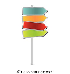 colorful multidirectional metallic plaque road sign