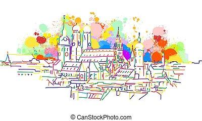 Colorful Munich Skyline Sketch