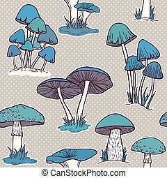 mushrooms seamless vector pattern
