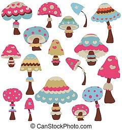 colorful mushrooms - set of colorful decorative mushrooms