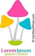 Colorful mushrooms vector logo isolated on white background