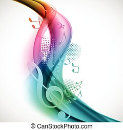 Colorful music background - Colorful wavy music background...