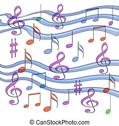 colorful music - jell music notes assorted on white...