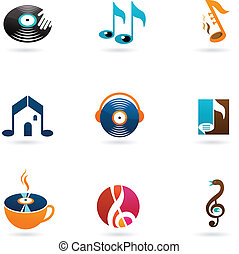 Colorful music icons and logos - Nine colorful music icons ...