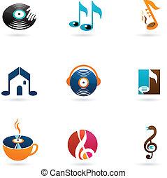 Nine colorful music icons and logos