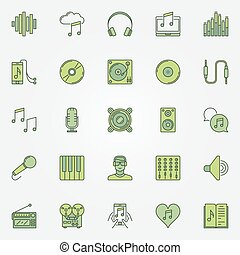 Colorful music icons set
