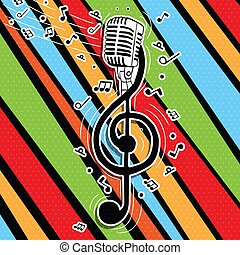 Colorful music key with singer microphone