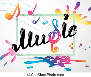 Colorful music logo in frame, vector illustration for Your...