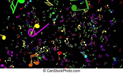Colorful music notes. Black background