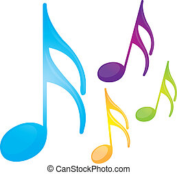 music notes - colorful music notes isolated over white ...