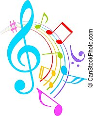 Colorful music notes vector icon