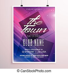 colorful music party flyer poster template with light streaks